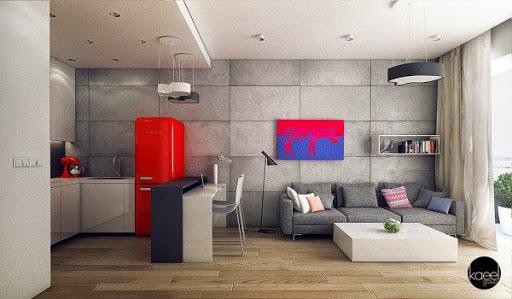 Phòng khách thiết kế mở với sắc đỏ nổi bật trên tông màu xám trung tính.