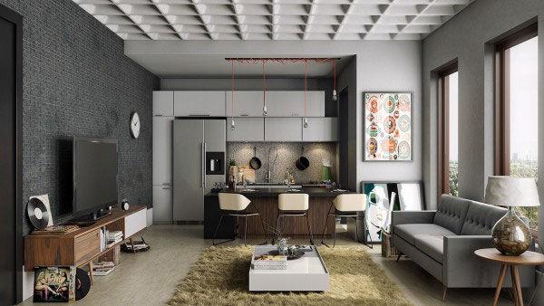 """Tấm thảm trải sàn ấm áp làm """"mềm mại"""" căn hộ có kết cấu khá """"nam tính""""."""