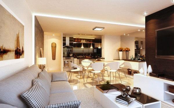Phòng khách tận dụng tối đa từng mét vuông để sắp đặt nội thất trang nhã.