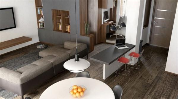 Thay thế bức tường ngăn cách bếp và phòng khách bằng sofa sang trọng.