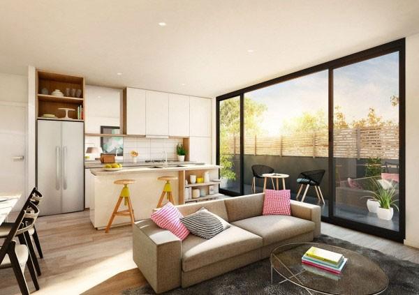 Nội thất thấp sàn mang lại vẻ đơn giản mà hiện đại cho không gian mở.