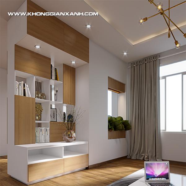 Kệ trang trí kết hợp làm vách ngăn phòng khách và bếp đã giúp ngăn cách rõ rệt hơn cho căn phòng.