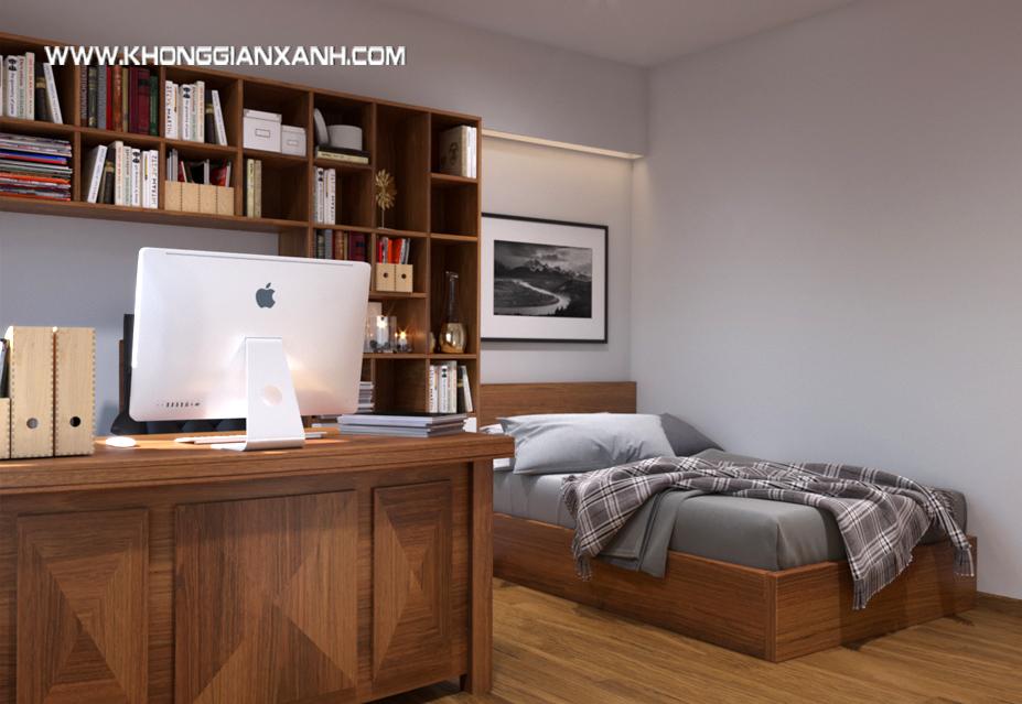 Chiếc giường ngủ được đặt bên cạnh bàn làm việc để gia chủ có thể nghỉ ngơi .