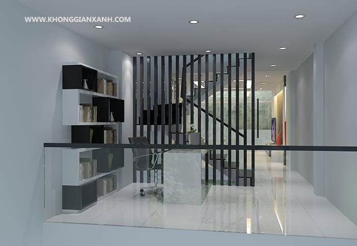 Phòng làm việc được đặt ngay chân cầu thang