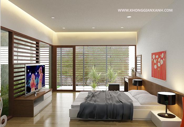 Phòng ngủ có view hướng ra sân vườn rộng lớn của Villa