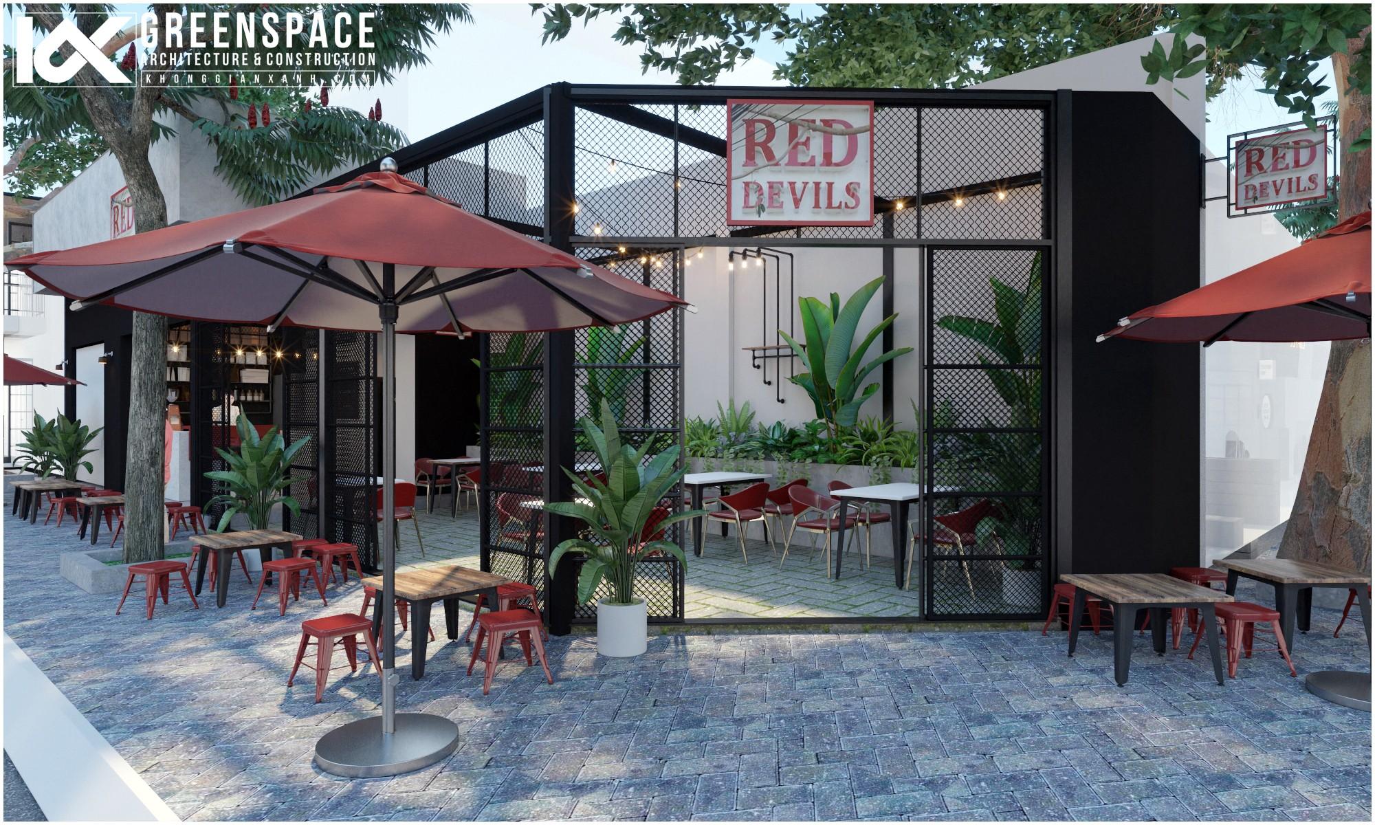 quán cafe Red Devils được thiết kế bởi Không Gian Xanh