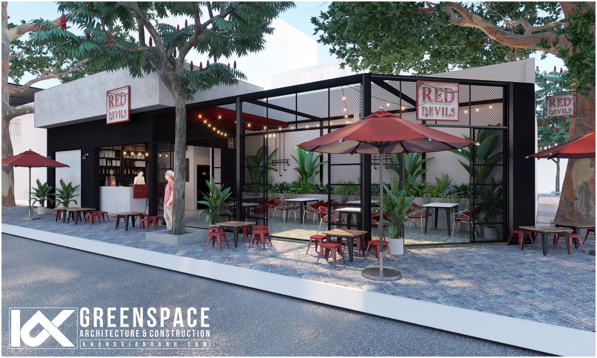 không gian bên ngoài quán cafe Red Devils