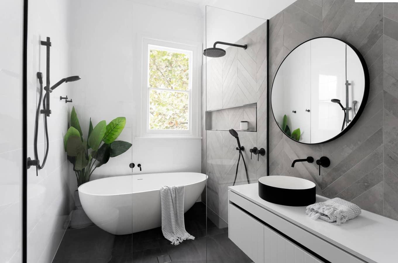 không gian thiên nhiên trong phòng tắm