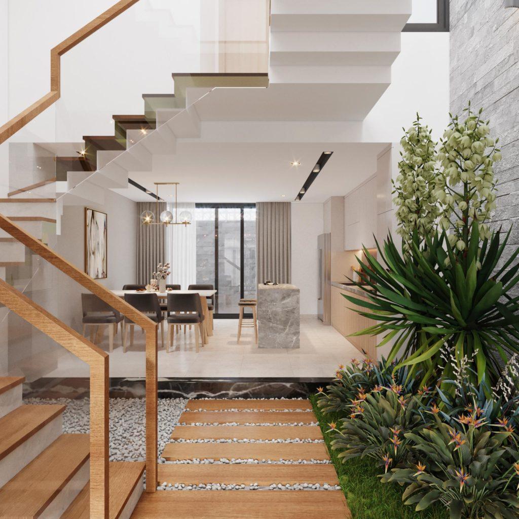 kiến trúc nhà phố lệch tầng