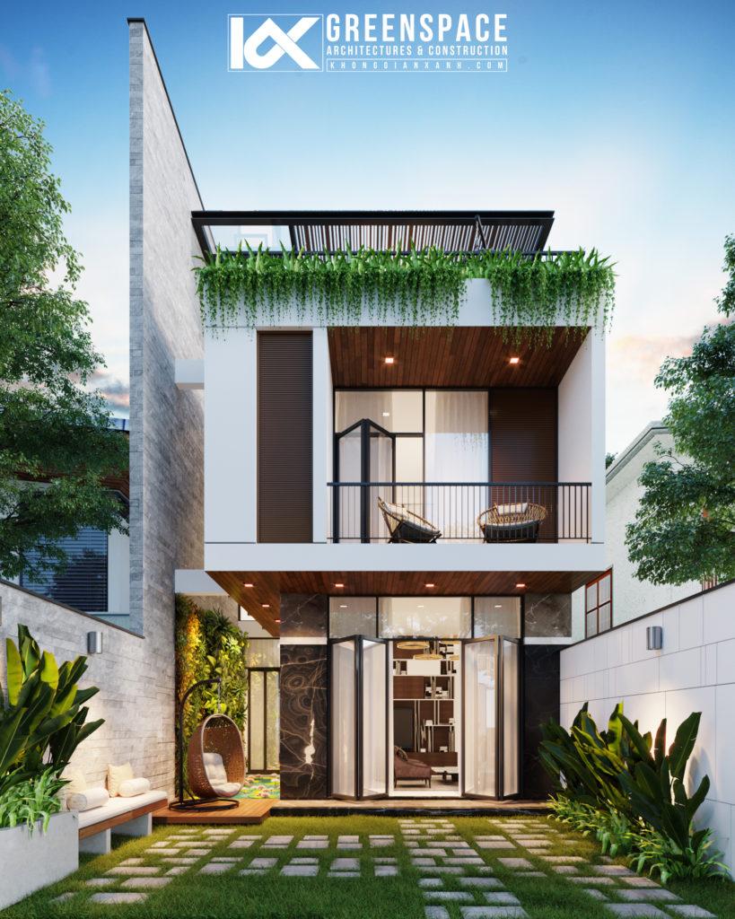 nhà phố mái bằng không gian xanh
