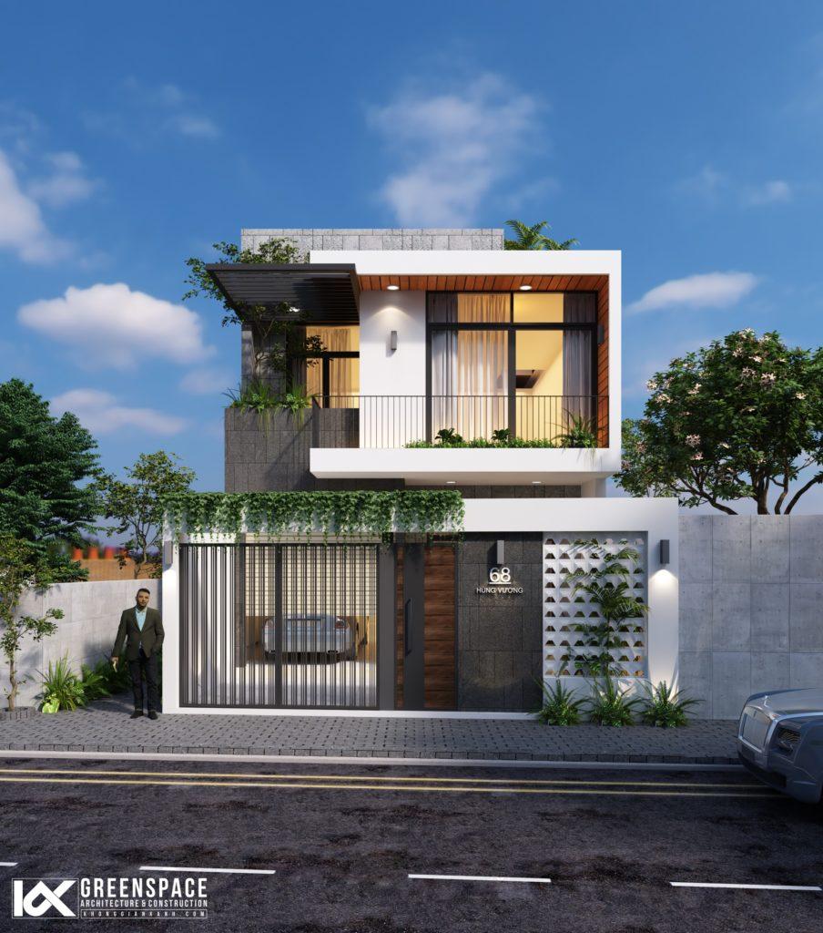thiết kế nhà phố hai tầng