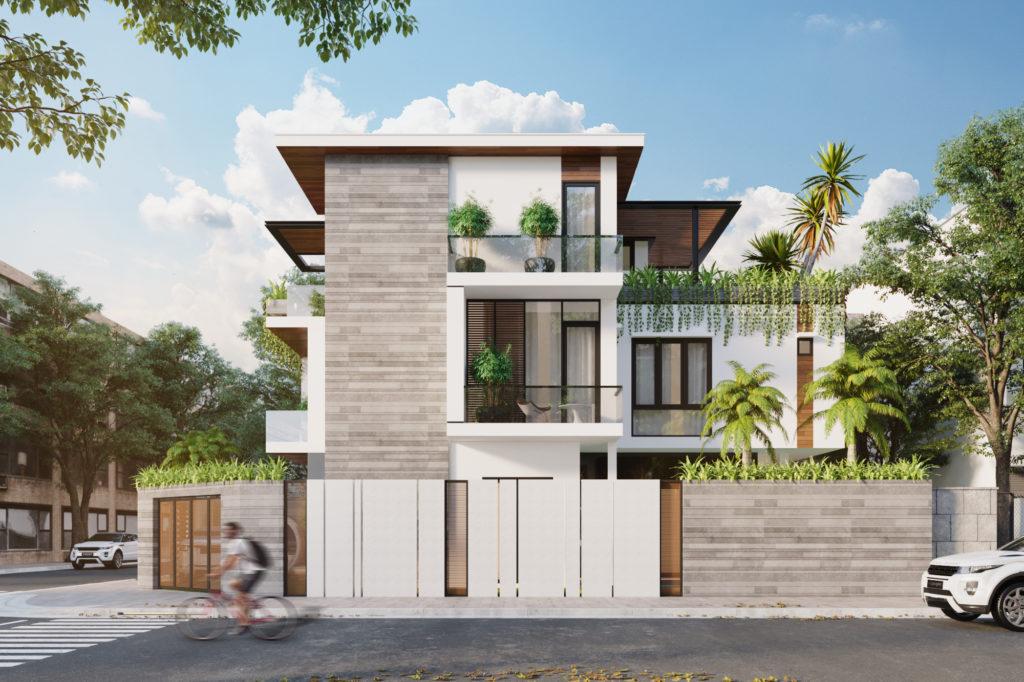 thiết kế nhà phố mái bằng