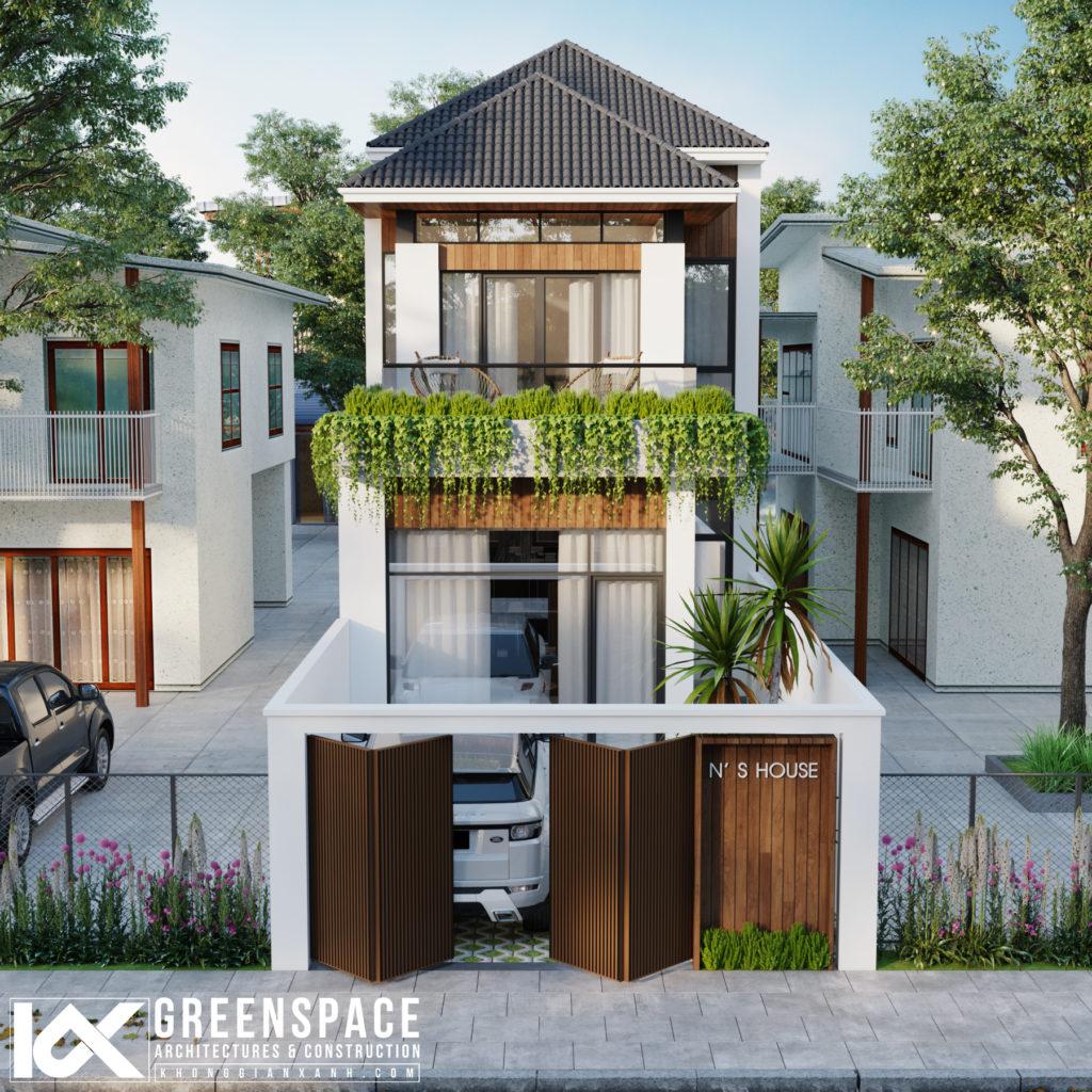 thiết kế nhà phố mái thái