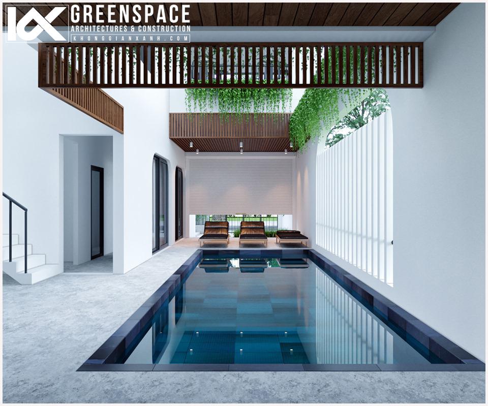 biệt thự có hồ bơi trong nhà tại không gian xanh
