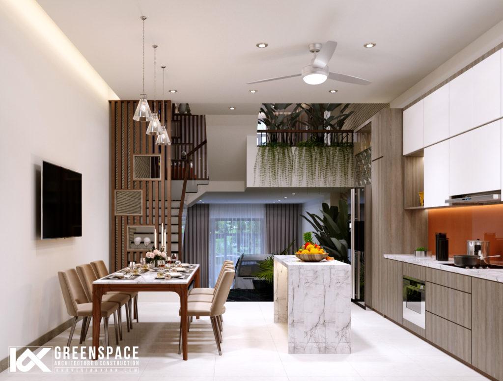 Nội thất nhà phố lệch tầng – phong cách hiện đại