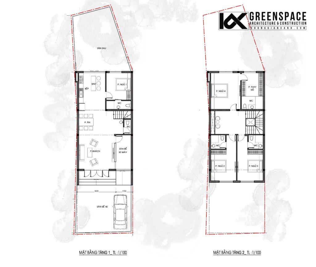 Thiết kế kiến trúc nhà phố 2 tầng – Phong cách hiện đại cá tính