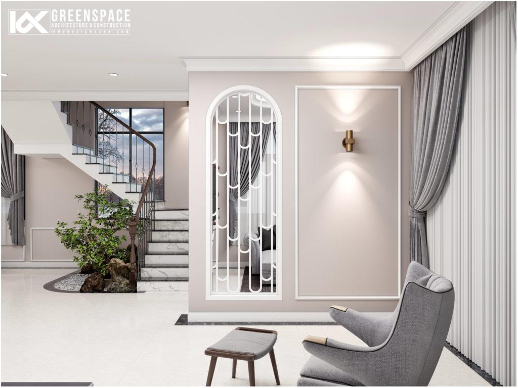 Thiết kế nội thất biệt thự tân cổ điển – Gam màu trầm sang trọng
